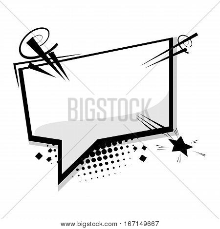 Blank template comic text speech square cloud bubble. Dialog empty box space. Halftone dot background style pop art. Comics book sketch explosion sudden burst bomb