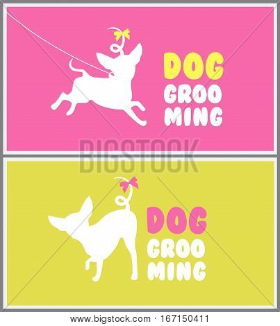 Logo for dog hair salon. Dog beauty salon. Pet grooming salon. Vector dog silhouette