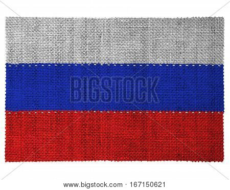 The national flag of the country of Russia. Sewn from three pieces of white thread. Fabric with large texture.