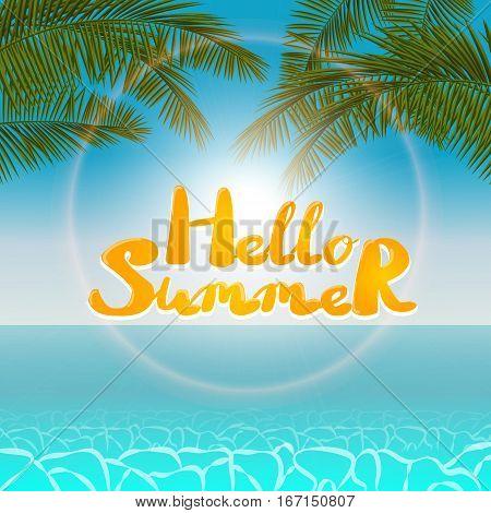 Summer seascape blurred bokeh lights palm leaf. Landscape background. Summer Time. Realistic vector illustration web application. Seascape hello summer