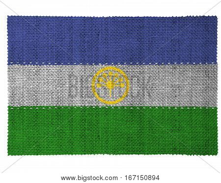 The national flag of the country of Bashkortostan. Sewn from three pieces of white thread. Fabric with large texture.