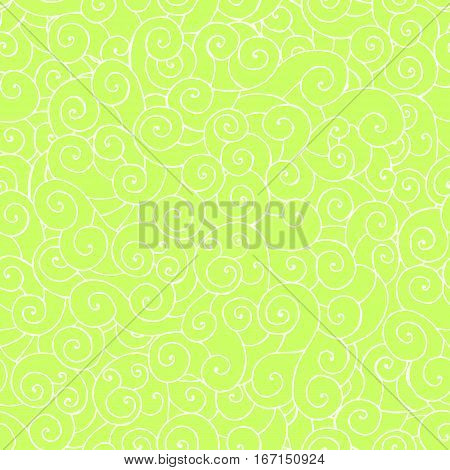 vector seamless hand drawing abstract pattern swirl whorl curly white line on green background