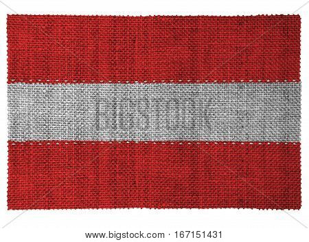 The national flag of the country of Austria. Sewn from three pieces of white thread. Fabric with large texture.
