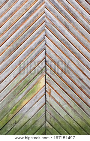 vertical fragment of wooden door upholstered planks