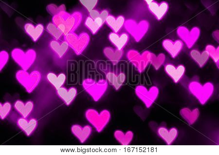 St Valentines Day purple heart bokeh background - St Valentines Day postcard