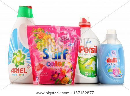 POZNAN POLAND - JAN 20 2017: Although global soap and detergent industry includes about 700 companies it remains highly concentrated with the top 50 companies holding almost 90 percent of the market
