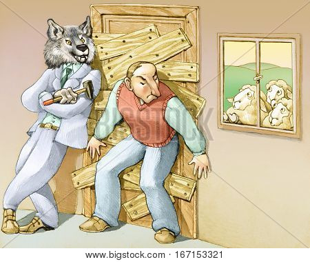 a man thinks that the danger is out and closes at home barring the door with the help of a big bad wolf