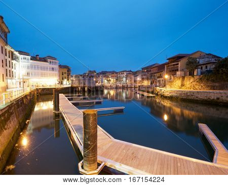 view of the port of Llanes, Asturias, Spain