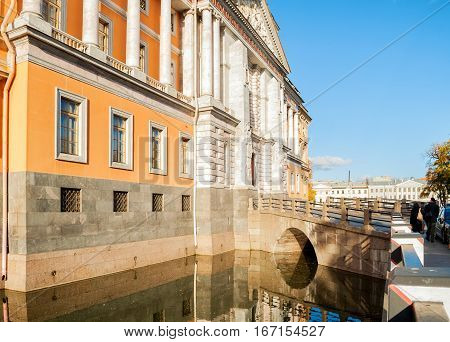 SAINT PETERSBURG RUSSIA-OCTOBER 3 2016. St Michaels or Engineer castle in Saint Petersburg Russia reflecting in the water