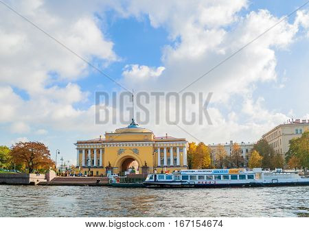 SAINT PETERSBURG RUSSIA-OCTOBER 3 2016. Admiralty arch on the embankment of Neva river in Saint PetersburgRussia