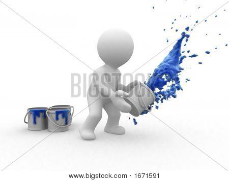 3D Blue Painter