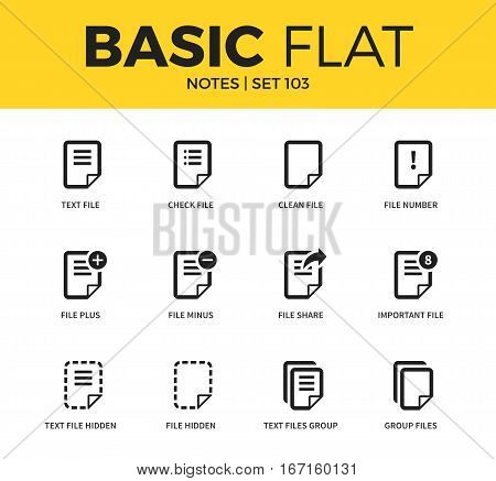 Basic set of clean file, file number and important icons. Modern flat pictogram collection. Vector material design concept, web symbols and logo concept.