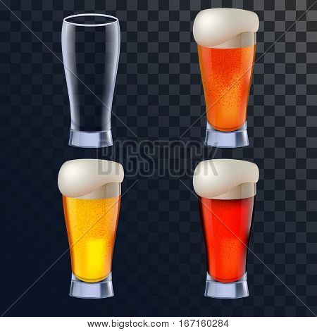 Elegant beer glasses in four versions for lager, amber ale and stout with an empty one also included. Photo-realistic vector illustration on transparency grid
