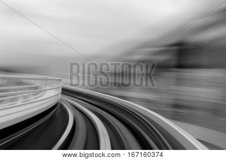 Black and White blurred motion moving train abstract background