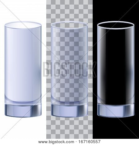 Elegant transparent glass for water, milk, juice, cocktail. Objects can be placed on any background. Vector design elements