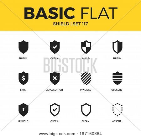 Basic set of shield, obscure and keyhole icons. Modern flat pictogram collection. Vector material design concept, web symbols and logo concept.