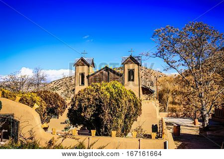 Chimayo, New Mexico, USA - December 7: El Santurio de Chimayo. A Roman Catholic mission church first built in 1816 and is now a comtemporary Catholic pilgramage site in the USA