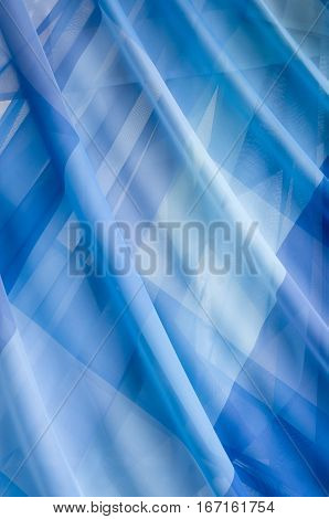 Thin transparent blue seal curtains close up