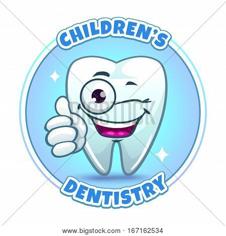 Childrens dentistry company logo element. Cartoon tooth character thumbs ups. Vector illustration.