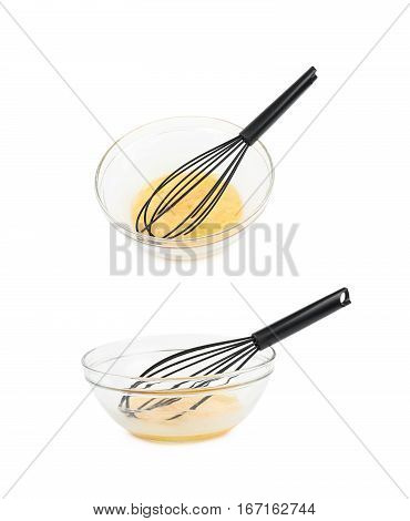 Whisked eggs and black whisker tool in a glass bowl, composition isolated over the white background, set of two different foreshortenings