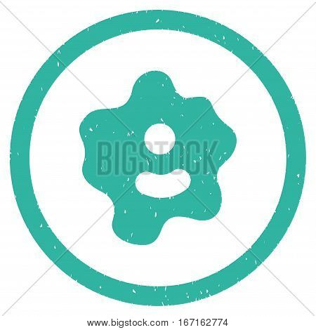 Ameba grainy textured icon inside circle for overlay watermark stamps. Flat symbol with unclean texture. Circled dotted vector cyan ink rubber seal stamp with grunge design on a white background.