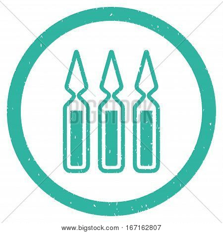 Ampoules grainy textured icon inside circle for overlay watermark stamps. Flat symbol with scratched texture. Circled dotted vector cyan ink rubber seal stamp with grunge design on a white background.