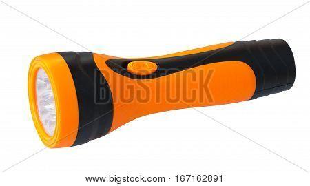 Orange flashlight on a isolated hite background