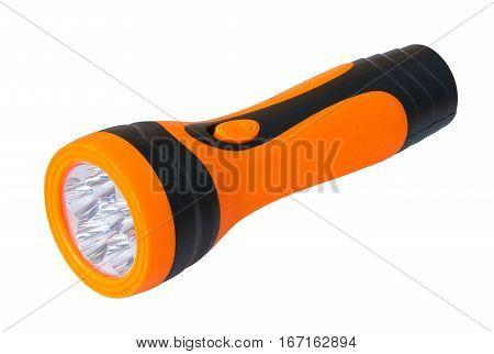 Orange flashlight isolated on a white background