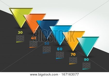 One, two, three, four, five steps template, timeline. Step by step infographic. Vector.
