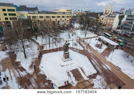 Kaliningrad Russia - January 14 2017: View of the central square of Kaliningrad from above in winter