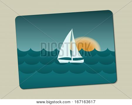 Sunset sailboat and sea with waves. Stylistic image on the business card is lying with a