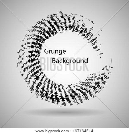 Hand drawn circle shape. label logo design element. Brush abstract wave. Black enso zen symbol. Vector illustration