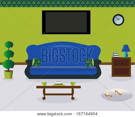 A living room with a coffee table.A lamp and the book on the nightstand.A sofa witn colored decorative pillows. Сarpet. Sexy cute slippers with high heels. Plant. Flat screen TV.Vector illustration.