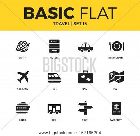Basic set of earth, hotel, bag and map icons. Modern flat pictogram collection. Vector material design concept, web symbols and logo concept.