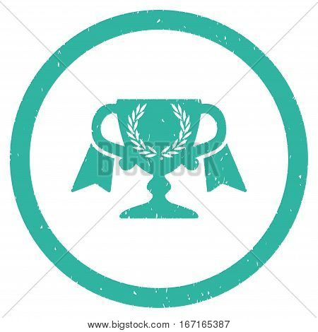 Award Cup grainy textured icon inside circle for overlay watermark stamps. Flat symbol with dirty texture. Circled dotted vector cyan ink rubber seal stamp with grunge design on a white background.