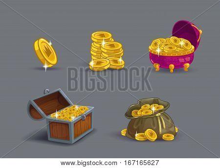 Cartoon golden coins icons set. Game reward upgrading. Vector GUI assets.