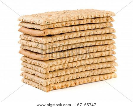 stack of grain crispbreads isolated on white background.