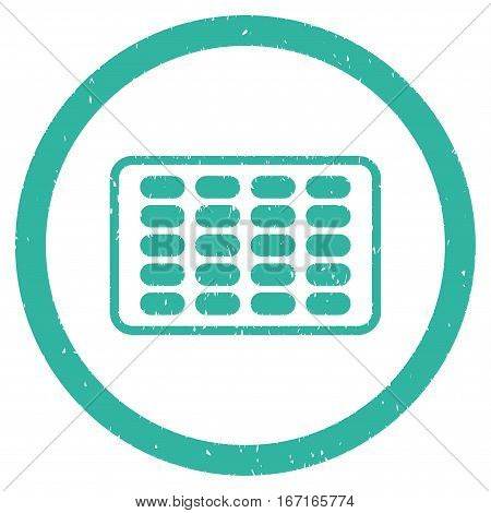Blister grainy textured icon inside circle for overlay watermark stamps. Flat symbol with dirty texture. Circled dotted vector cyan ink rubber seal stamp with grunge design on a white background.