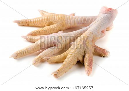 Tree chicken feet isolated on white background.