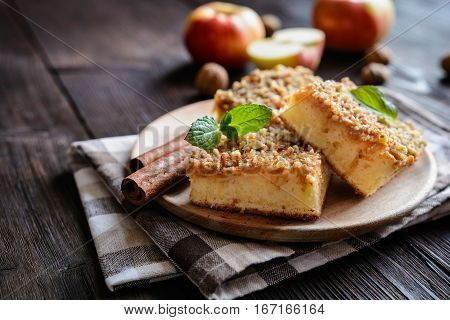 Fruit Cake With Apple And Walnut Topping