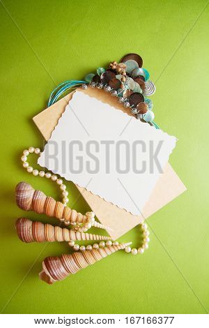 romantic background for photo with various shells and draperies