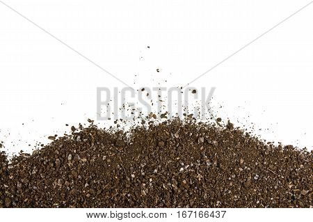 Fertile soil texture background seen from above, top view. Gardening or planting concept. Frame or border isolated on white