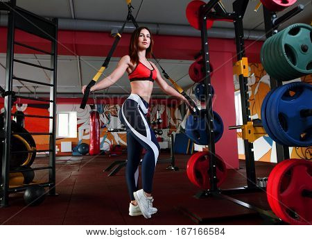 Crossfit Fitness Trx Training Exercises At Gym