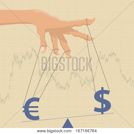 Manipulating currency exchange rates. Financial metaphor. Vector illustration in vintage style.