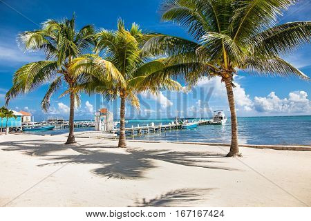 Beautiful  caribbean sight with turquoise water in San Pedro island, Belize.