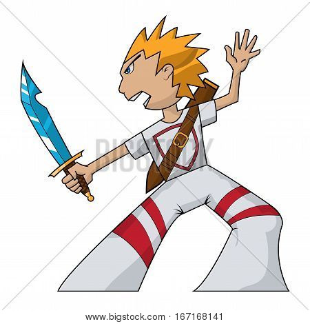 ninja boy with blue sword and white suit with yellow hair