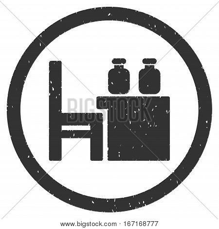 Apothecary Table grainy textured icon inside circle for overlay watermark stamps. Flat symbol with dirty texture.