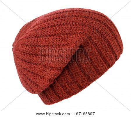 Hat Isolated On White Background .knitted Hat .red Hat .