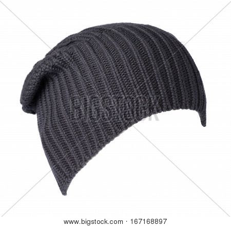 Hat Isolated On White Background .knitted Hat .dark Blue Hat .