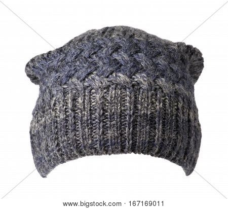Hat Isolated On White Background .knitted Hat .motley Hat .